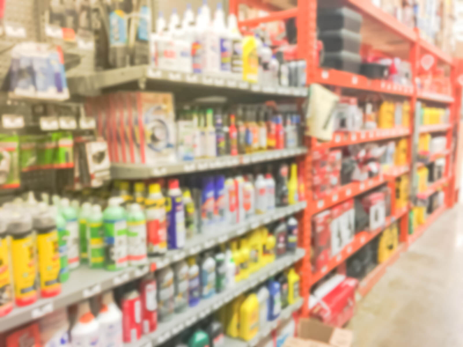 home improvement products on shelf in store