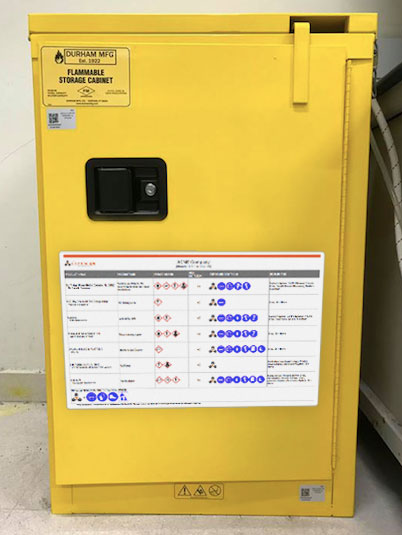 SmartChart on a chemical cabinet