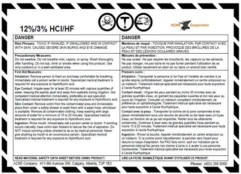 WHMIS 1988 Supplier Label